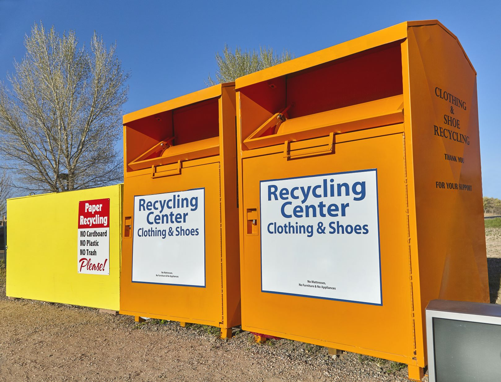 Clothing and shoes recycling donation bins